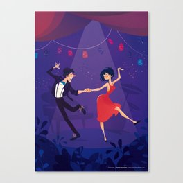 Dancing night couple Canvas Print