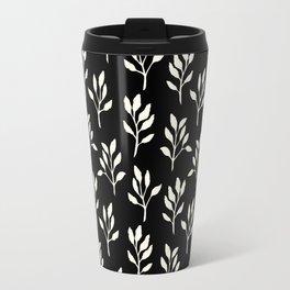 Modern ivory black hand painted watercolor floral pattern Travel Mug