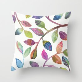Colorful Leaves Watercolor Throw Pillow
