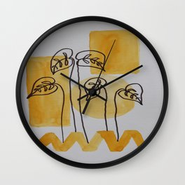 Leaves On Yellow Wall Clock