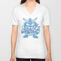 gundam V-neck T-shirts featuring Cheeseburger RX-78 Gundam by Philip Tseng