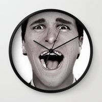 american psycho Wall Clocks featuring American Psycho by Alexia Rose