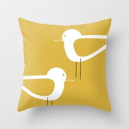 Shorebird Pair 2 in White and Light Mustard Throw Pillow