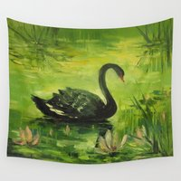 black swan Wall Tapestries featuring Black Swan by OLHADARCHUK