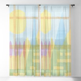 From the inside out -watercolor landscape Sheer Curtain