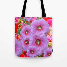 LILAC HOLLYHOCKS WITH RED COLOR ACCENTS Tote Bag