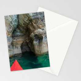 Red Kayak in Lake Superior Cave Stationery Cards