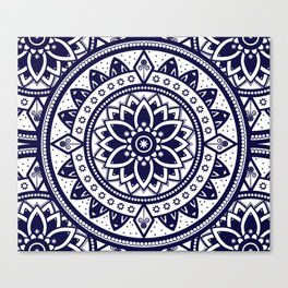 Blue & White Patterned Flower Mandala Design Canvas Print