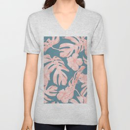 Tropical Palm Leaves and Hibiscus Pink Teal Blue Unisex V-Neck