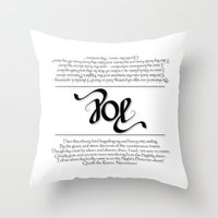 edgar allen poe Throw Pillows featuring POE by Vineeth G Nair