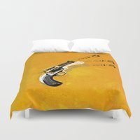 gun Duvet Covers featuring gun  by mark ashkenazi