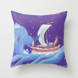 Penguins Travel on Sailboat on the Ocean in the Stars Throw Pillow