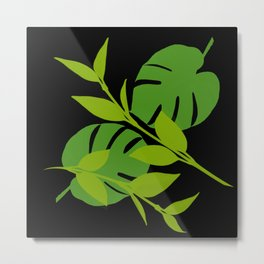 Simply Tropical Leaves with Black Background Metal Print