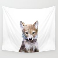 wildlife Wall Tapestries featuring Little Wolf by Amy Hamilton