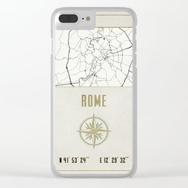 Rome - Vintage Map and Location Clear iPhone Case