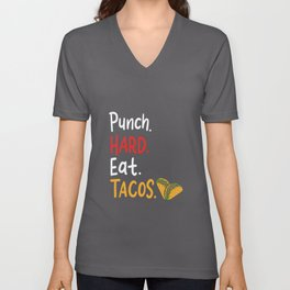 Punch Hard Eat Tacos For A Mexican Boxer design Unisex V-Neck