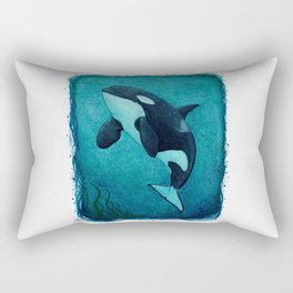 """The Matriarch"" by Amber Marine ~ Orca / Killer Whale (J2 Granny) Watercolor Art, (Copyright 2016) Rectangular Pillow"