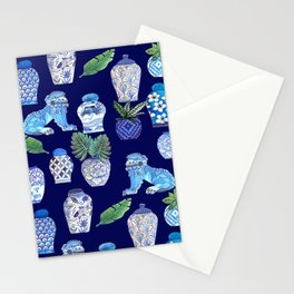 Chinese Ginger Jars and Foo Dogs, Chinoiserie, Hampton's Style Stationery Cards