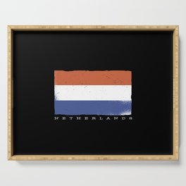 Flag of the netherlands with dutch quote Serving Tray