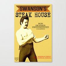 Ron Swanson  |  Steak House Parody |  Parks and Recreation Canvas Print