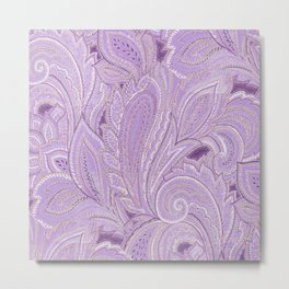 paisley purple Metal Print