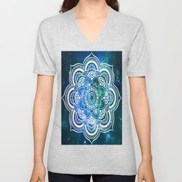 Mandala : Blue Green Galaxy Unisex V-Neck