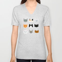 Cute Cat Pattern with cat breads calico, siamese, tabby, tuxedo Unisex V-Neck