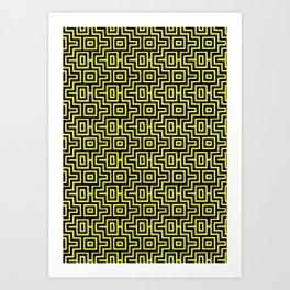 Yellow Buzz Puzzle Choctaw Pattern Art Print