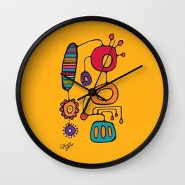 Feather Flower Chime in Color Wall Clock