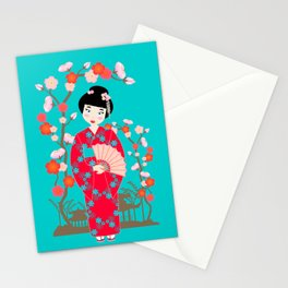 Pretty Japanese Girl Stationery Cards
