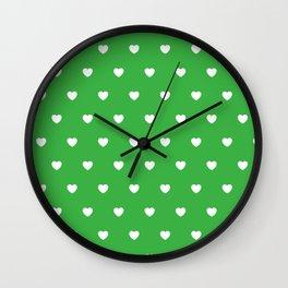 HEARTS ((white on shamrock)) Wall Clock