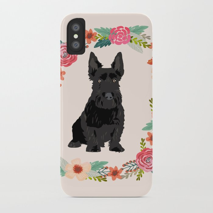 scottie dog breed floral wreath pet portrait dog gifts iPhone Case by petfriendly | Society6