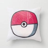 pokeball Throw Pillows featuring Pokeball Zentangle by Amanda Brooks