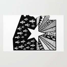 Black and White Arizona Patterned State Map Rug