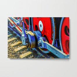Old Steam Locomotive Eccentric And Red Wheels Of Iron Metal Print