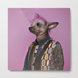 Punk Chinese Crested Dog Metal Print