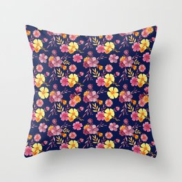 Midnight // Pink and Yellow Floral Pattern Throw Pillow
