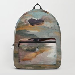 Gentle Beauty [3] - an elegant acrylic piece in deep purple, red, gold, and white Backpack
