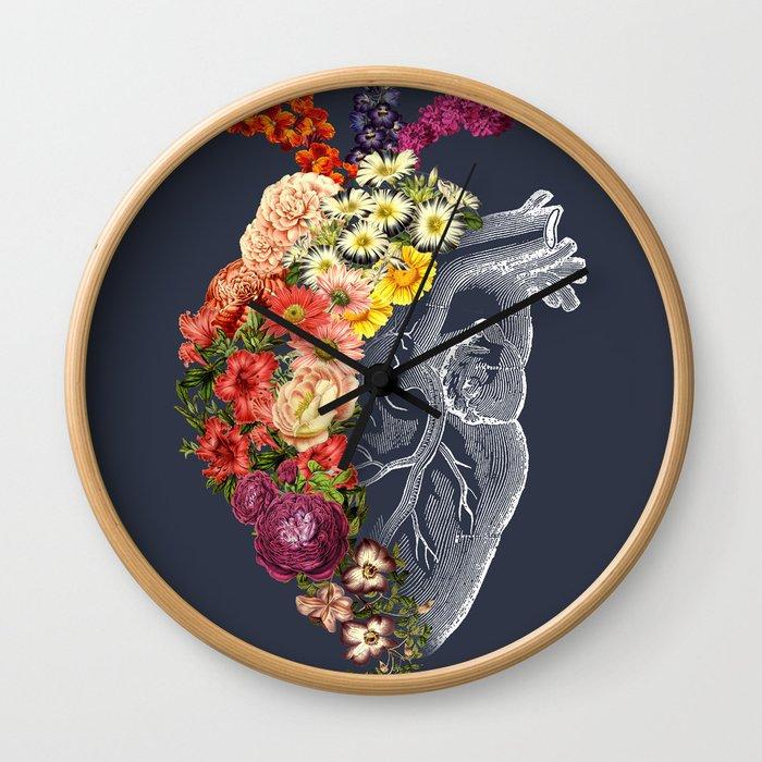 Flower Heart Spring Blue Grey Wall Clock