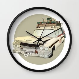 80´s tv and films cars (ghostbusters) Wall Clock