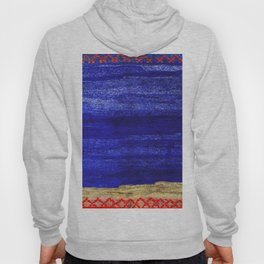 V24 New Blue Calm Traditional Moroccan Carpet Texture. Hoody