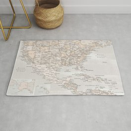 US and the Caribbean Sea map, Lucille Rug