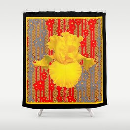 Oriental style Black-red Yellow Iris Pattern Art Shower Curtain