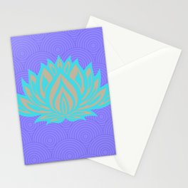 Lotus blue /mint Meditation Through Pillow Stationery Cards