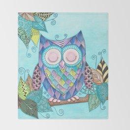 Sleepy Owl 2 Throw Blanket