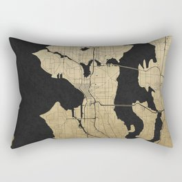 Seattle Black and Gold Street Map Rectangular Pillow