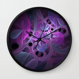 Luminous Abstract Fractal Art Pink And Blue Wall Clock