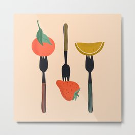 Fruits on forks Metal Print