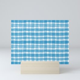 Watercolor Brushstroke Plaid Pattern Pantone Ibiza Blue 17-4245 Mini Art Print