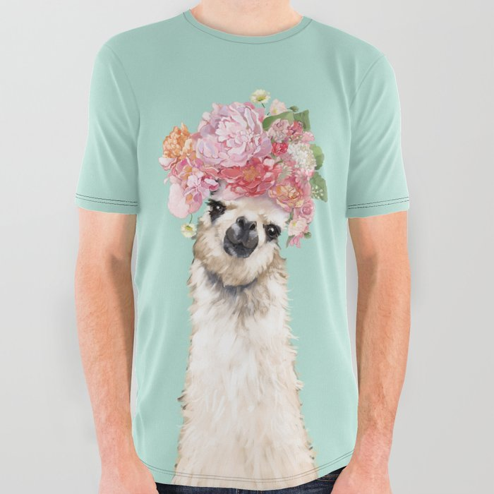 8421817c Llama with Flowers Crown #3 All Over Graphic Tee by bignosework ...
